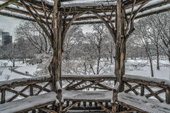 Rustic Shelter after snow storm Royalty Free Stock Photos