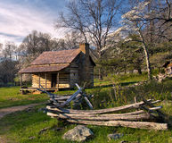 Rustic Shenandoah mountain cabin at sunset Royalty Free Stock Photography