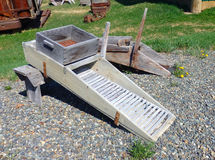 A rustic sluice box from the klondike days Royalty Free Stock Image