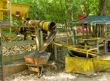 A rustic sluice used for mining placer gold Stock Photo