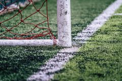 Soccer goal in a training football field for football sport background and backdrop for sport training concept