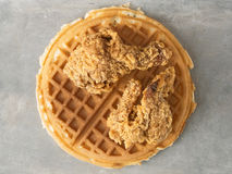 Rustic southern american comfort food chicken waffle Stock Photo