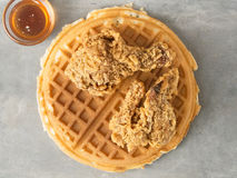 Rustic southern american comfort food chicken waffle Royalty Free Stock Photo