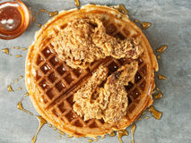 Rustic southern american comfort food chicken waffle. Close up of rustic southern american comfort food chicken waffle royalty free stock photos