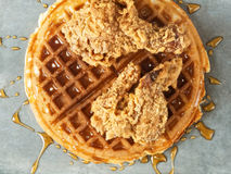 Rustic southern american comfort food chicken waffle Royalty Free Stock Photography