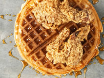 Rustic southern american comfort food chicken waffle Stock Image