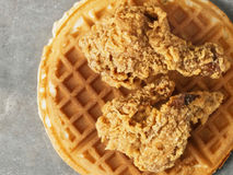 Rustic southern american comfort food chicken waffle Royalty Free Stock Images