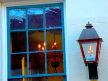 Rustic Southern Window with Blue Color Tones and Lighting Stock Images