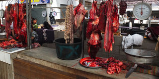The rustic stall of a butcher. Stock Photography
