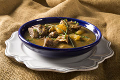 Rustic Stew meat with manioc called Vaca atolada in Brazil. Royalty Free Stock Photo