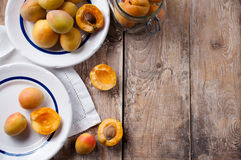 Rustic still life with apricots Stock Photo