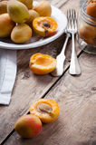 Rustic still life with apricots Royalty Free Stock Photo