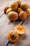 Rustic still life with apricots Stock Image