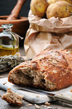 Rustic still-life with fresh bread Stock Photo