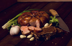 Rustic still life with sausage Stock Photo