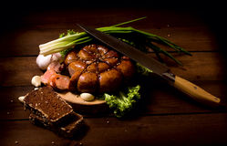 Rustic still life with sausage Royalty Free Stock Photos