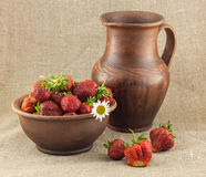 Rustic still life of strawberries Royalty Free Stock Image