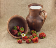 Rustic still life of strawberries Stock Photo