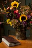 Rustic Still Life With Autumn Flowers And Book Royalty Free Stock Photo