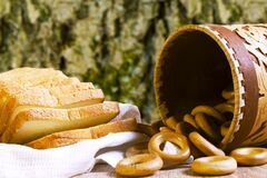 Free Rustic Still Life With Bread And Bagels. Stock Photography - 176799662