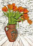 Rustic stillife with bouquet of red tulips in the old clay jug Royalty Free Stock Image