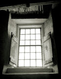 rustic shaker  stone barn window interior Royalty Free Stock Image