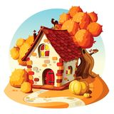 Rustic stone house. Autumn landscape. royalty free stock images