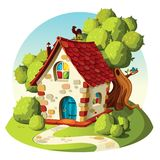 Rustic stone house. Summer landscape. Summer sunny landscape with a rustic stone house with a tiled roof among green trees vector illustration