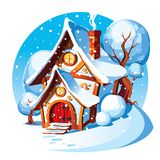 Rustic stone house. Winter landscape. royalty free stock photo