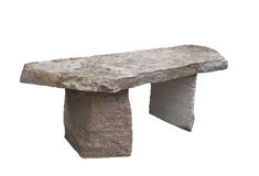 Rustic stone slab bench isolated. Stock Images