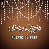 Rustic String Lights Background Stock Photos
