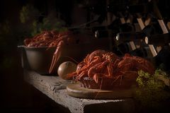 Food crayfish in the wine cellar. stock photography