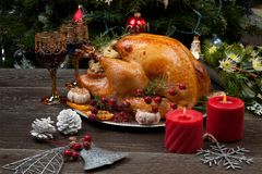 Rustic Style Christmas Turkey royalty free stock images