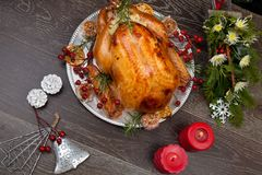 Rustic Style Christmas Turkey Royalty Free Stock Photography