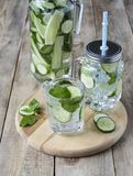 Rustic style. Cucumber water stock images