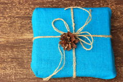 Rustic style of decoration of gift boxes with natural materials Royalty Free Stock Photos
