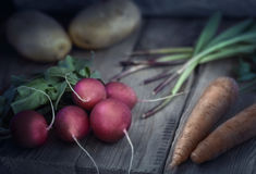 Rustic style. Fresh Radishes on the wooden table. Rustic style misticlight. Fresh vegetable on the wooden table. Radishes carrot and potato Royalty Free Stock Photo