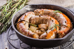 Rustic style  fried sausages Stock Images