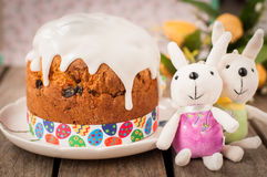 Rustic Style Kulich, Russian Sweet Easter Bread Topped with Suga Royalty Free Stock Images
