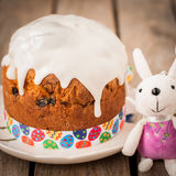 Rustic Style Kulich, Russian Sweet Easter Bread Topped with Suga Stock Photo