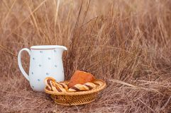 Rustic style picknik with jar of milk and homemade pastry with space for text stock images