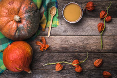 Rustic style pumpkins, soup and ground cherry branches on wood Royalty Free Stock Images
