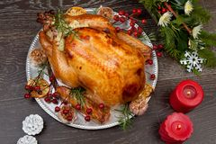 Rustic Style Christmas Turkey Royalty Free Stock Image