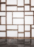 Rustic style shelves on white wall Stock Photo