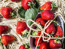 Rustic style strawberries  Royalty Free Stock Photography