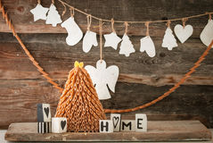 Rustic styled new year tree Royalty Free Stock Photography
