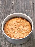 Rustic swedish almond cake in baking tin Royalty Free Stock Photo