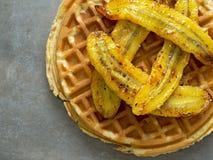 Rustic sweet banana waffle Royalty Free Stock Photos