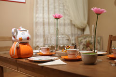 Rustic table in restaurant Royalty Free Stock Photos