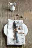 Rustic table setting Royalty Free Stock Photography